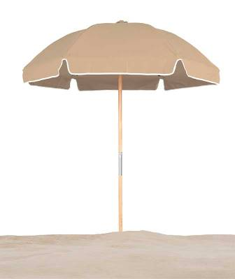 6 1/2 Ft. Wood Beach Umbrella, Fiberglass Ribs - Image 1