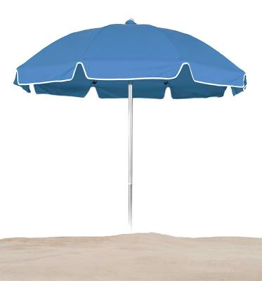 7 1/2 Ft. Flat Top Umbrella, Fiberglass Ribs - Push Up Style without Tilt - Image 2