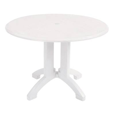 "Grosfillex Patio Furniture - 42"" Round Atlanta White Table - Grosfillex Patio Furniture National Outdoor Furniture"