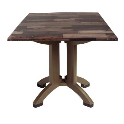 "Grosfillex Patio Furniture - 32"" Square Atlanta Shiplap Decor Table"