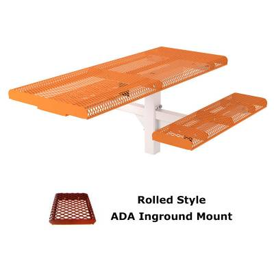 6' and 8' Rolled Picnic Table, ADA - Portable, Surface and Inground Mount - Image 3
