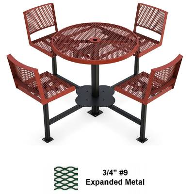 "Picnic Tables - 42"" Round Bar Height Table with Seats - Surface Mount"