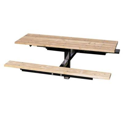 4' and 6' Wood Picnic Table - Inground Mount - Image 2