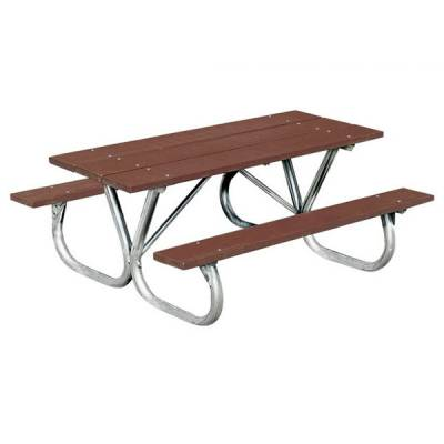 Picnic Tables - Natural Wood - 8' Heavy-Duty Bolt-Thru Wood Picnic Table – Portable