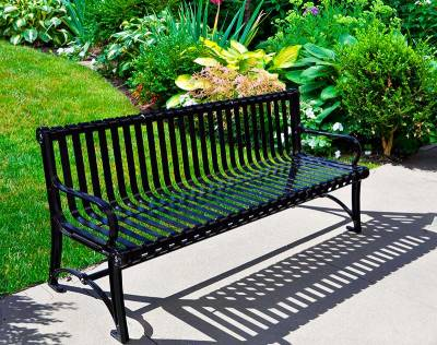 Park Benches - Coated Metal - 6' Blair Bench - Portable/Surface Mount - Quick Ship