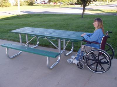 7 1/2' Recycled Plastic Picnic Table with (2) 6 Ft. Attached Seats, Galvanized Frame - ADA - Portable - Image 2