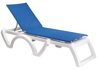 Grosfillex Patio Furniture - Resin Chaises - Jamaica Beach Adjustable Sling Stacking Chaise Lounge