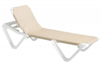 Grosfillex Patio Furniture - Resin Chaises - Nautical Adjustable Sling Stacking Chaise Lounge