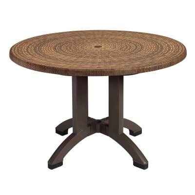 "Grosfillex Patio Furniture - Resin Tables - 42"" Round Atlanta Decor Table - Four Styles Available"