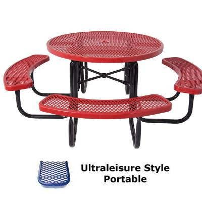 "Picnic Tables - Thermoplastic Coated - 46"" Round UltraLeisure Picnic Table - Portable, Quick Ship"
