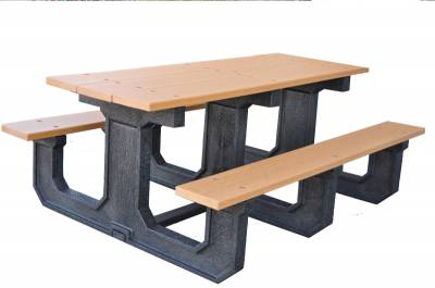 6' and 8' Recycled Plastic Park Place Picnic Table, Portable - Quick Ship - Image 3