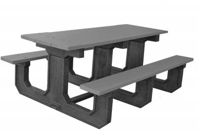 6' and 8' Recycled Plastic Park Place Picnic Table, Portable - Image 4