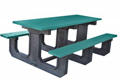6' and 8' Recycled Plastic Park Place Picnic Table, Portable - Image 5