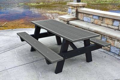 6' and 8' Recycled Plastic A Frame Picnic Table, Portable - Image 2