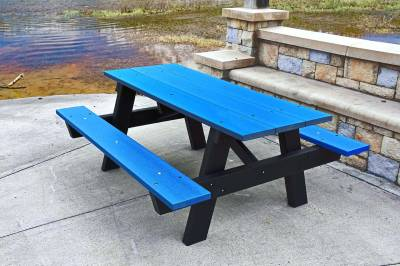 6' and 8' Recycled Plastic A Frame Picnic Table, Portable - Image 3