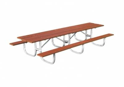 Picnic Tables - Natural Wood - 10' and 12' Heavy-Duty Shelter Wood Picnic Table - Portable