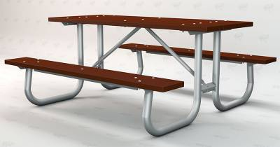 6' and 8' Recycled Plastic Picnic Table with Galvanized Frame - Portable/Surface Mount - Image 3