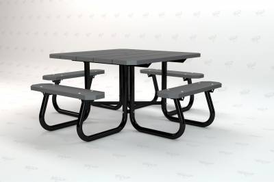 "48"" Square Recycled Plastic Table, Portable - Image 5"