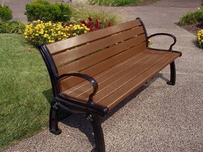 4', 5', 6' and 8' Heritage Recycled Plastic Bench - Portable/Surface Mount - Image 3