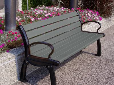 4', 5', 6' and 8' Heritage Recycled Plastic Bench - Portable/Surface Mount - Image 4