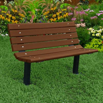 4', 6' and 8' Contour Recycled Plastic Bench - Surface and Inground Mount - Image 2