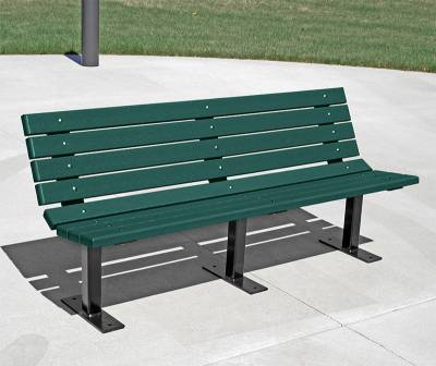 4', 6' and 8' Contour Recycled Plastic Bench - Surface and Inground Mount - Image 3