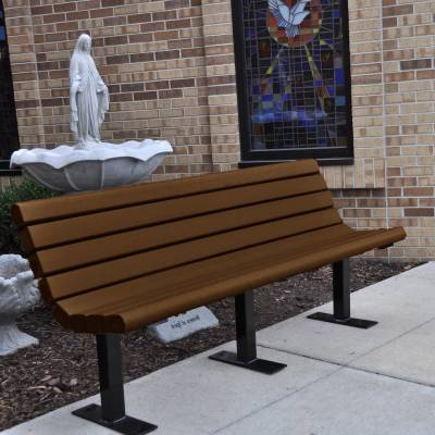 4', 6' and 8' Jameson Recycled Plastic Bench - Surface and Inground Mount - Image 4