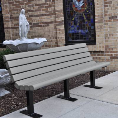 4', 6' and 8' Jameson Recycled Plastic Bench - Surface and Inground Mount - Image 2