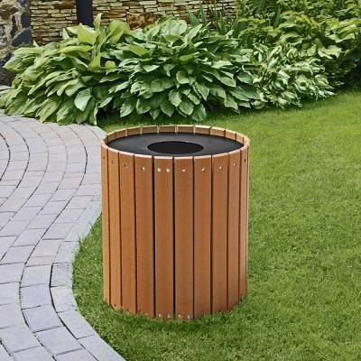 Trash Disposal - 32 and 55 Gallon Round Recycled Plastic Trash Receptacle