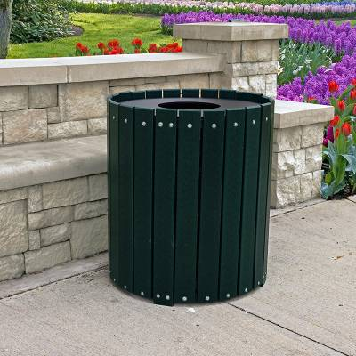 32 and 55 Gallon Round Recycled Plastic Trash Receptacle - Image 4