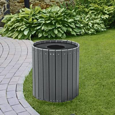 32 and 55 Gallon Round Recycled Plastic Trash Receptacle - Image 5