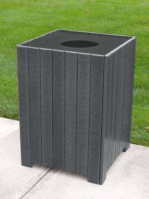 20, 32, and 55 Gallon Square Recycled Plastic Trash Receptacle - Image 3